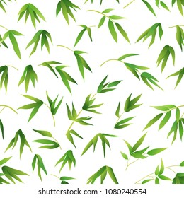 Exotic Seamless Pattern, Tropical Bamboo Plants Branches with Green Leaves Isolated on Tile White Background.