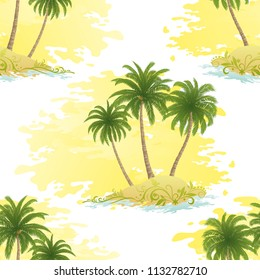 Exotic Seamless Pattern, Tropical Ocean Landscape, Islands with Palms Trees on Abstract White and Yellow Tile Background.