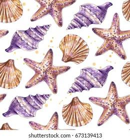 Exotic shells seamless pattern, seashells, starfishes. Hand drawn marine background