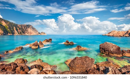 Exotic spring view of Petani Beach. Splendid morning scene of Cephalonia Island, Greece, Europe. Amazing seascape of Mediterranen Sea. Stunning outdoor scene of Ionian Islands.