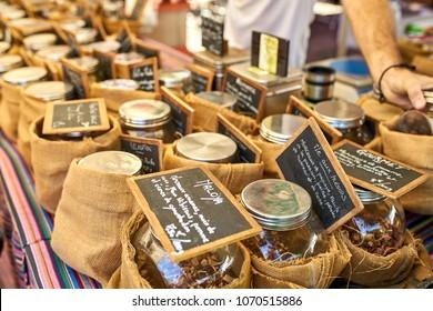 exotic tea on local market of Saint-Pierre, Reunion Island