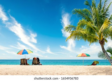 Exotic tropical beach landscape for background or wallpaper. Tranquil beach scene for travel inspirational, Summer holiday and vacation concept for tourism relaxing.