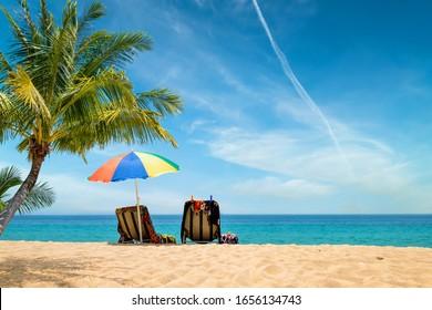 Paysage de plage exotique tropical pour fond d'écran ou fond d'écran. Une plage paisible pour des voyages inspirants, des vacances d'été et des vacances concept pour le tourisme relaxant.