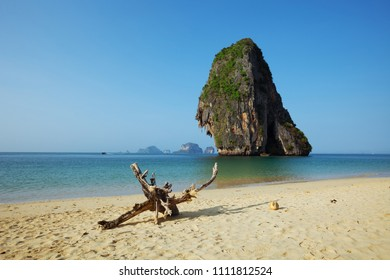 Exotic tropical beach, rocks in the sea, Krabi, Thailand