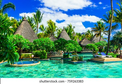 exotic tropical holidays. Luxury resort with gorgeous swim pool in Mauritius island