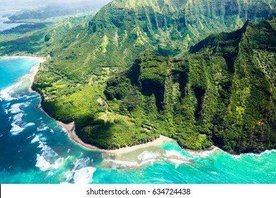 Exotic Tropical Paradise Aerial Helicopter Napali Coast Kauai Hawaii Cliffs Ocean Sea Turquoise Water