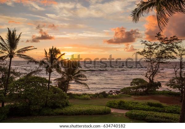 Exotic Tropical Paradise Sunset Sunrise Beach Ocean Waves Kauai Hawaii Kapaa