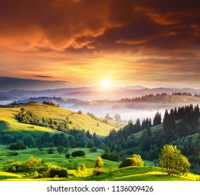 Exotic view on countryside in the morning light. Location place Carpathian, Ukraine, Europe. Scenic image of travel destination. Adventure vacation. Summer season. Discover the beauty of earth.