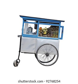 An exotic vintage hawker food cart isolated against white.
