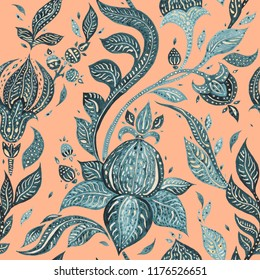 Exotic vintage pattern with Indigo flowers. Seamless Paisley floral, Watercolor illustration. Can be used for wallpaper, website background, textile, phone case print