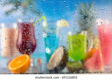 Exotic vivid background with drinks