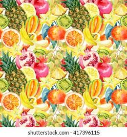 Exotic watercolor fruit mix seamless pattern. Tropical pineapple, orange, lemon, tangerine, pomegranate, grapes, banana, star fruit background. Hand painted summer illustration