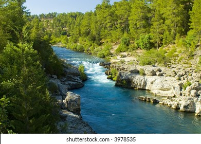 Exotic wild river and rocks landscape in Turkey