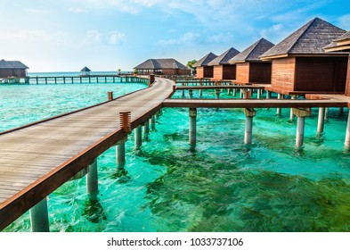 Exotic wooden houses on the water