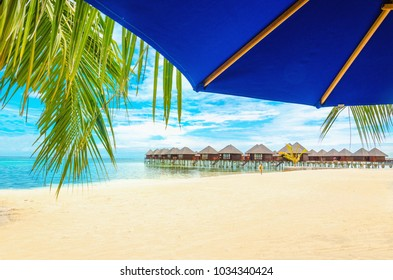 Exotic wooden houses on the water and palm leaf with blue sun umbrella in the foregroundforeground