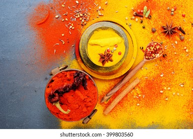 Exotically Spice Mix - spice, herbs, powder top view over dark slate stone background. cooking and spicy food concept. copy space,