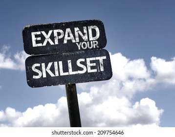 Expand Your Skillset sign with clouds and sky background