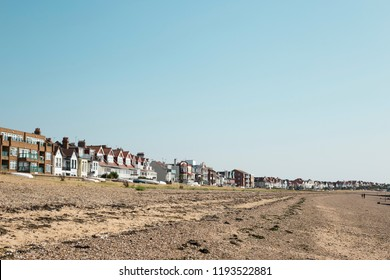 Expanded panoramic view of Southend on sea coastline seafront - houses and the beach