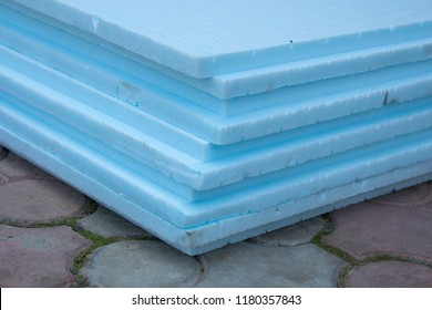 expanded polystyrene, polystyrene insulation boards closeup stacked