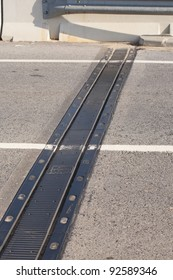 Expansion joint on a bridge open to traffic
