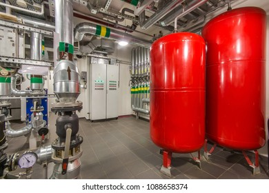 Expansion tanks of industrial ventilation system. Modern equipment for heating system