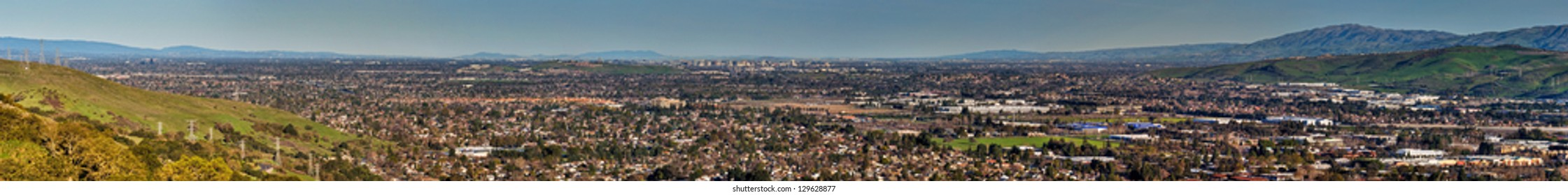 An expansive panorama of the South San Francisco Bay area including the downtown San Jose skyline from Coyote Peak.