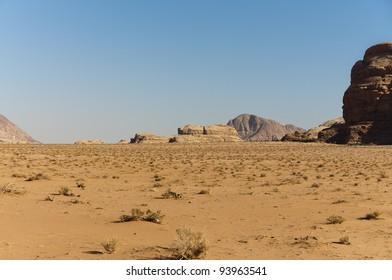Expansive view of the desert in the Wadi Rum UNESCO World Heritage area, Jordan