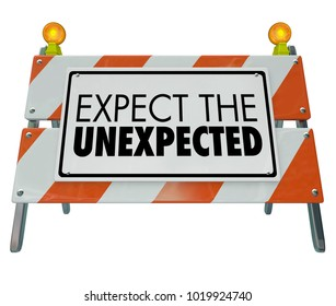Expect the Unexpected Barricade Barrier Road Construction 3d Illustration