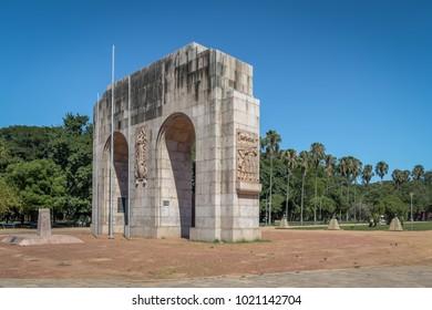 Expedicionario monument Arches at Farroupilha Park or Redencao Park - Porto Alegre, Rio Grande do Sul, Brazil