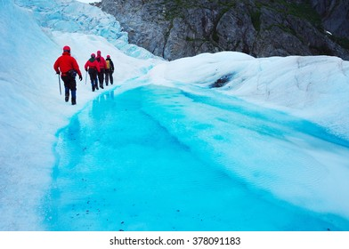 Expedition on the top of the glacier, Alaskan icefield