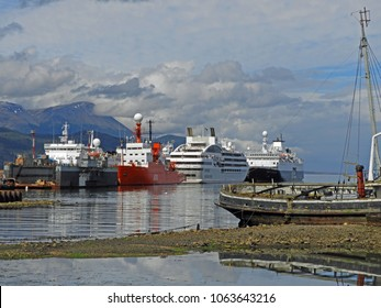 Expedition ships lined up in Ushuaia, Argentina