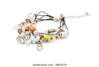 Expensive beautiful bracelet on the white isolated background