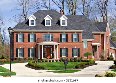 An expensive brick home located in exclusive neighborhood in Ohio.