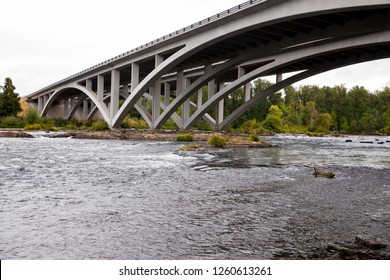 Expensive bridge over the Willamette River in Eugene Oregon where Interstate 5 divides Eugene and Springfield.