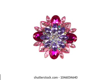 expensive brooch on white isolated background