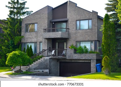 Expensive modern house with huge windows in Montreal, Canada.