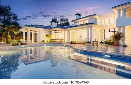 Expensive private villa. Swimming pool in a private house. Evening in a country house. Mansion exterior. Luxury villa with swimming pool. 3d illustration