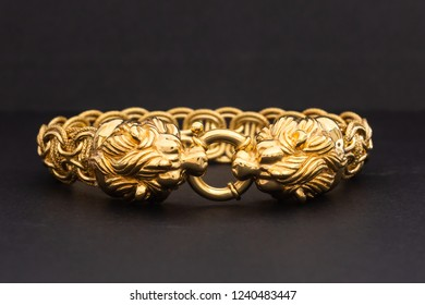 Expensive solid gold bracelet with lion clasp