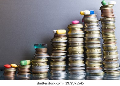 Expensive treatment cost concept with various pharmaceutical drugs on stack of money