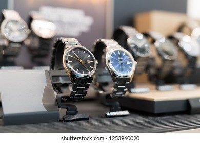 Expensive watches in a luxury store