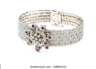 Expensive white gold bracelet with diamonds on a white background