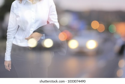 Experience the business and the city, living the city with a trip to work,Blurred girl with a backdrop on a traveling vehicle.
