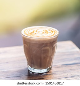 Experience love at first sip. Mochaccino for breakfast. Copy space in upper part
