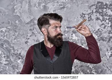 Experienced barber. Old school and vintage. Facial hair care. Hiring barber. Barber equipment. Barber salon. Man bearded hipster with long beard and mustache. Well groomed hipster. Barbershop concept.