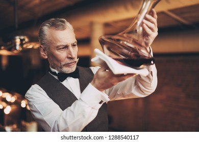 Experienced elegant sommelier looks at wine sediment in decanter. Wine degustation. Male skilled sommelier estimates alcoholic drink.
