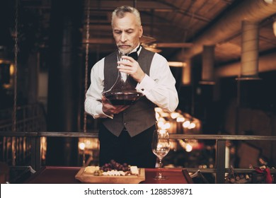 Experienced elegant sommelier tasting wine, inhaling vapors from decanter and wine. Wine tasting. Male sommelier assesses color, quality, sediments of drink.