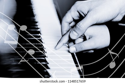 Experienced hand of the old music teacher