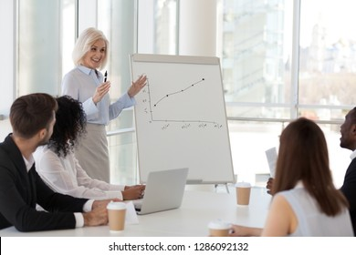 Experienced positive business woman presenting to company staff report, showing growth strategy on flipchart. Diverse millennial coworkers young employees sitting in boardroom listening skilled coach