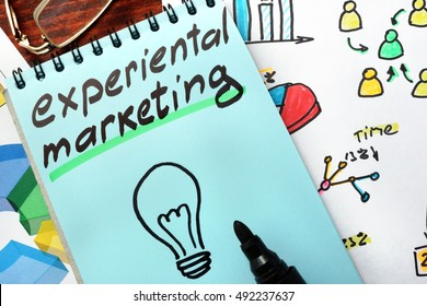 Experiential marketing written in a blue notepad.