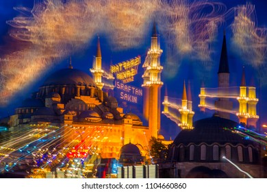 Experimental abstraction with long exposure. Mahya lamps in Suleymaniye Mosque minaret.Article; prevent waste/ Eminonu,Istanbul,Turkey